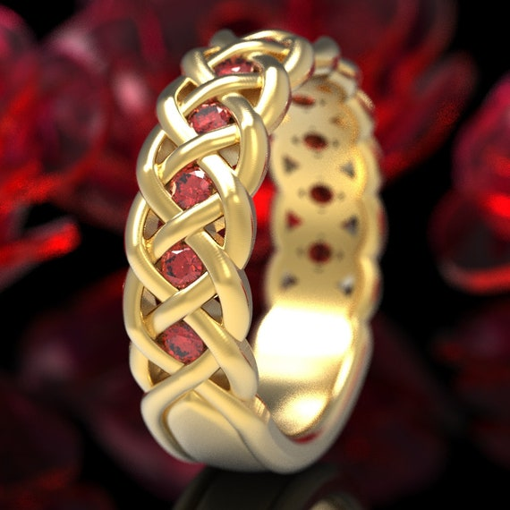 Celtic Ruby Wedding Band, Ruby Stones in 4 Cord Braided Knot Design, Sterling,10K 14K 18K or Platinum Made in Your Size CR-1008