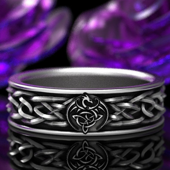 RESERVED FOR Kieran BiMetal Celtic Dragon Shield Ring in Platinum and Band in Sterling Silver, Custom Width and Size CR-112