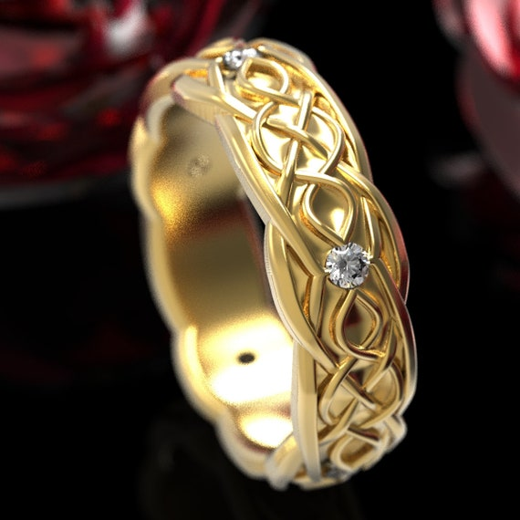 Gold Celtic Wedding Ring With Infinity Symbol Pattern & Moissanite Stones in 10K 14K 18K or Platinum, Made in Your Size Cr-1050