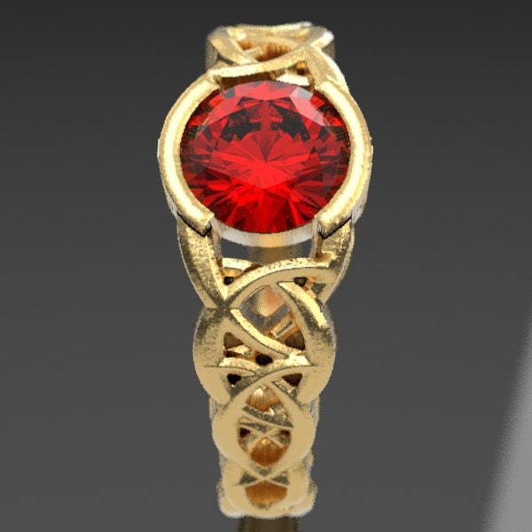 Made in Your Size CR-430 Celtic Wedding Ring With Ruby and Dara Knotwork Design in Sterling Silver
