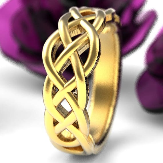Celtic Wedding Ring With Woven Knotwork Design in 10K 14K 18K Gold, Palladium or Platinum Made in Your Size CR-763