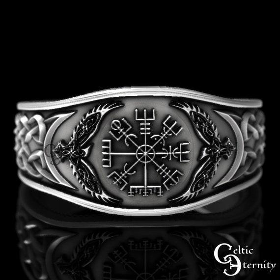 Sterling Silver Raven Ring, Vegvisir Ring, Mens Wedding Band, Raven Jewelry, Viking Wedding Ring, Viking Ring, Raven Ring, Odin Ring, 1160