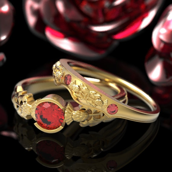 Thistle Engagement Ring Set, 10K 14K or 18K Gold & Ruby, Scottish Solitare, Floral Wedding, Handcrafted Platinum Engagment Ring 5062