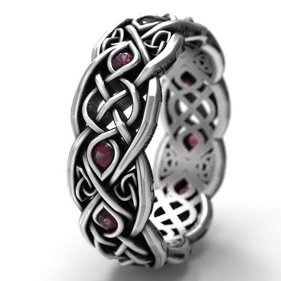 Infinity Wedding Band With Garnets, 925 Sterling Silver Celtic Ring, Unique Wedding Ring, Celtic Wedding Band, Handcrafted Size CR1052