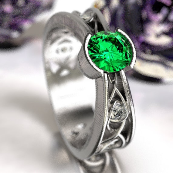 Moissanite And Emerald Ring With Celtic Infinity Symbol Design in Sterling Silver, Made in Your Size 1092