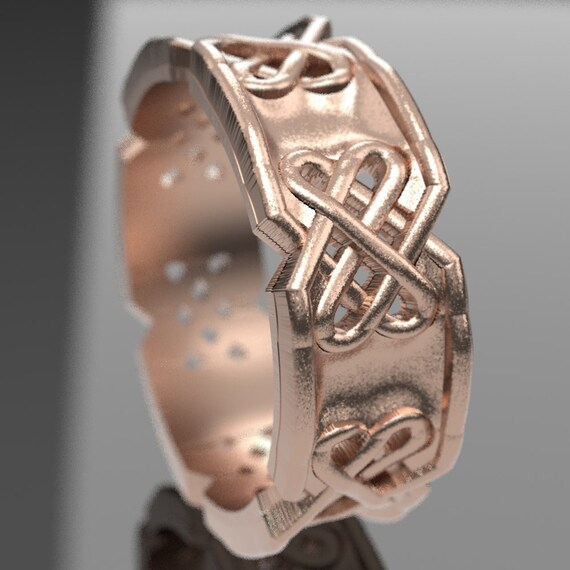 Celtic Wedding Ring with Raised Relief Cut-Through Custom Knotwork Design in 10K 14K 18K Gold, Palladium, Platinum Ring in Your Size 1094