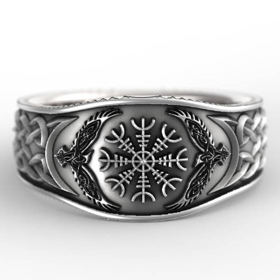 Sterling Silver Raven & Helm of Awe Ring, Mens Wedding Band, Raven Jewelry, Odin Viking Ring, Custom Size CR1160