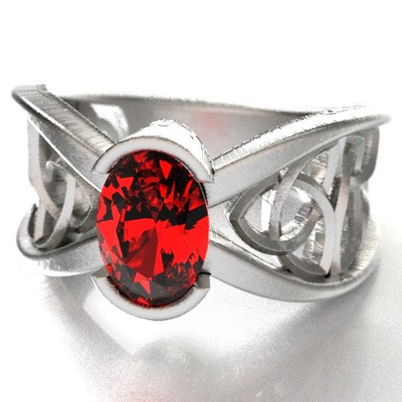 Celtic Wedding Ring With Ruby and Trinity Knotwork Design in Sterling Silver, 10K 14K 18K or Platinum Made in Your Size CR-1023
