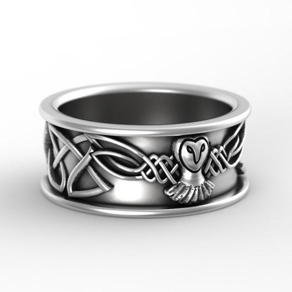Sterling Silver Owl Wedding Ring, Owl Wedding Band, Celtic Wedding Rings, Sterling Silver Owl Ring, Irish Wedding Band, CR-1108