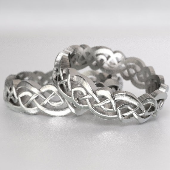 Eternity Ring Set, Celtic Infinity Band, Sterling Wedding Band, Budget Wedding Ring, Woven Wedding Ring, Custom Size CR-1044