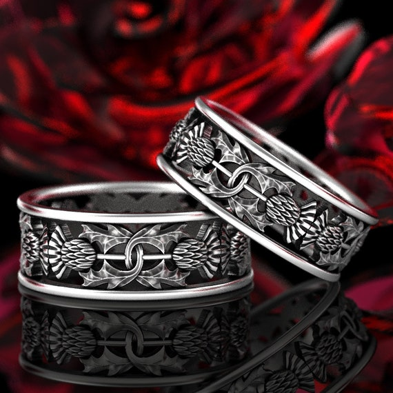 Thistle Ring Set of 2 Rings, 925 Sterling Silver Scottish Ring, Unique Rings for Her, Botanical Jewelry, Handcrafted Rings, Custom Size 5056