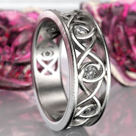 Celtic White Sapphire Wedding Ring With Infinity Knot Design in Sterling Silver, Made in Your Size CR-511