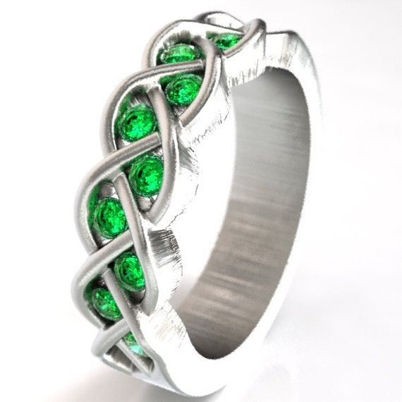 Celtic Wedding Emerald Stone Ring With Braided Knot Design in Sterling, 10K 14K 18K Gold, Palladium or Platinum Made in Your Size CR-100