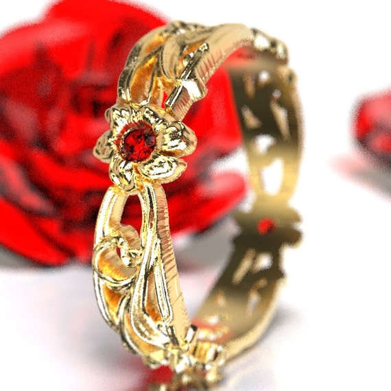 Art Nouveau Floral Design Wedding Ring Gold with Ruby Design in 10K 14K 18K or Palladium, Made in Your Size Cr-5018