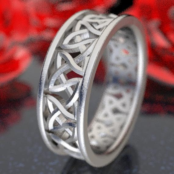 Eternity Wedding Ring With Cut-Through Celtic Woven Knotwork in Sterling, 10K 14K 18K Gold, Palladium or Platinum, Made in Your Size CR-37