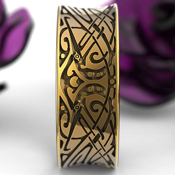 Gold Engraved Norse Wedding Ring With Unique Design in 10K 14K 18K or Platinum, Made in Your Size Cr-5090
