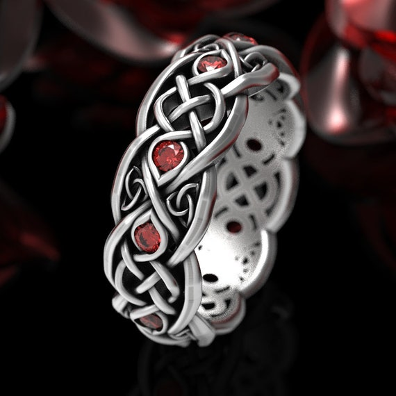 RESERVED FOR Karen, Custom Width Infinity Wedding Band With Rubies, 925 Sterling Silver Celtic Ring, Unique Celtic Wedding Ring, CR1052