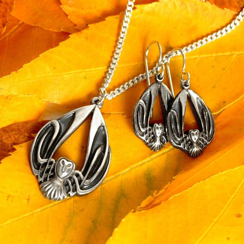 fadbd3082ee57f Silver Owl Necklace & Earring Set, Celtic Owl Pendant, Sterling Owl Earrings,  Barn Owl Jewelry, Art Nouveau Owl Jewelry, Owl Lover Gift