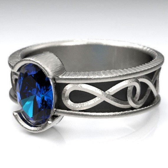 Celtic Engagement Ring With Blue Sapphire and Infinity Symbol Design in Sterling Silver, Made in Your Size CR-312