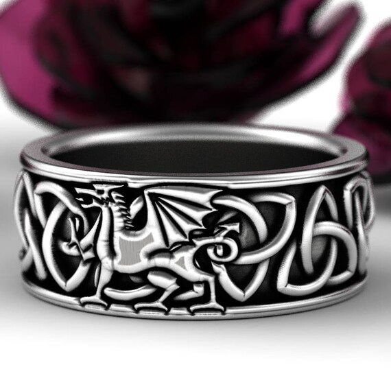 Welsh Dragon Ring Celtic Sterling Ring, Welsh Wedding Band, Mens Wedding Band, Dragon Jewelry, Celtic Knot Ring, Custom Size 1182