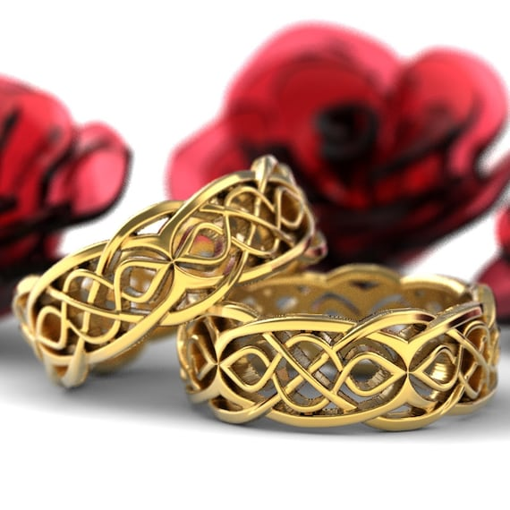 RESERVED FOR Linda Gold Celtic Wedding Ring Set Partial Cut-Through Infinity Symbol Pattern & Quaternary Knots 10K Gold SIZES 10.75 / 7.5