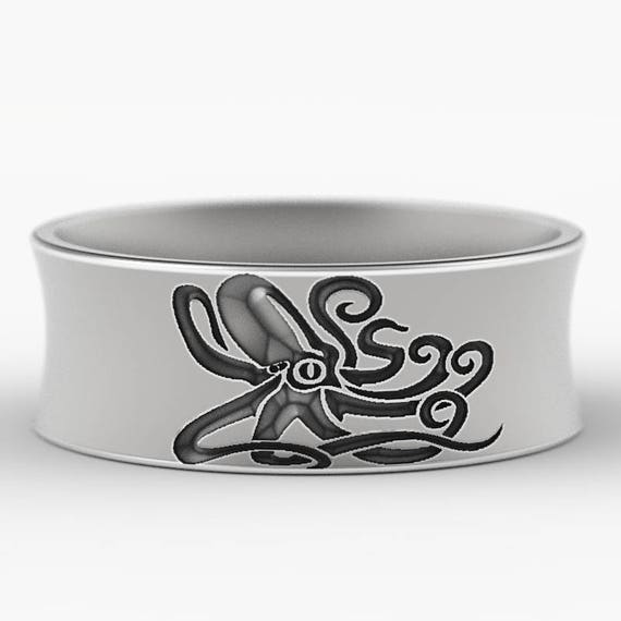 Engraved Octopus Wedding Ring in Sterling Silver, Octopus Ring, Octopus Jewelry, Octopus Wedding Ring, Made in Your Size CR-5100