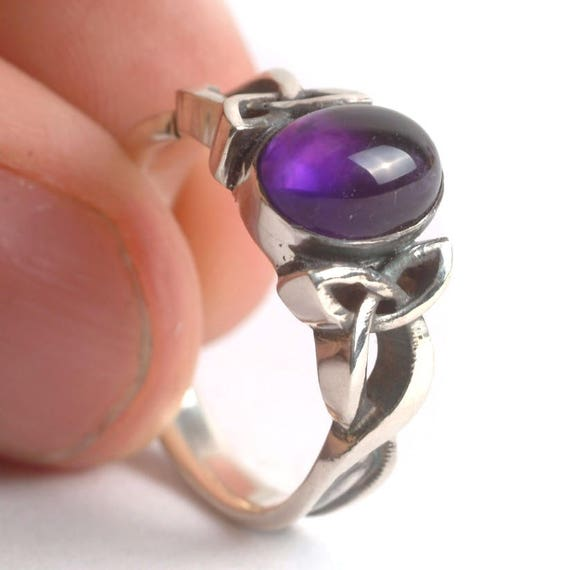 Amethyst Engagement Ring, Sterling Silver Celtic Knot Ring, Amethyst Celtic Ring, Amethyst Wedding Ring in Your Size CR-1131