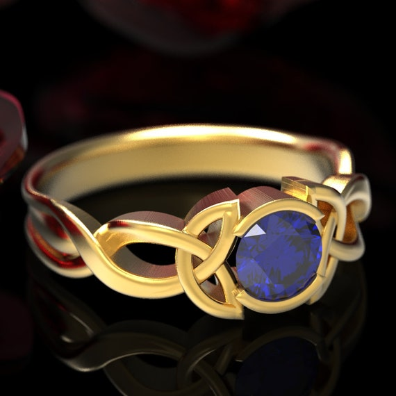 RESERVED FOR Kate, Custom 14K Yellow Gold Solitaire with Natural Sapphire, Celtic Knot Engagement Ring, Gold Sapphire Ring, CR405b