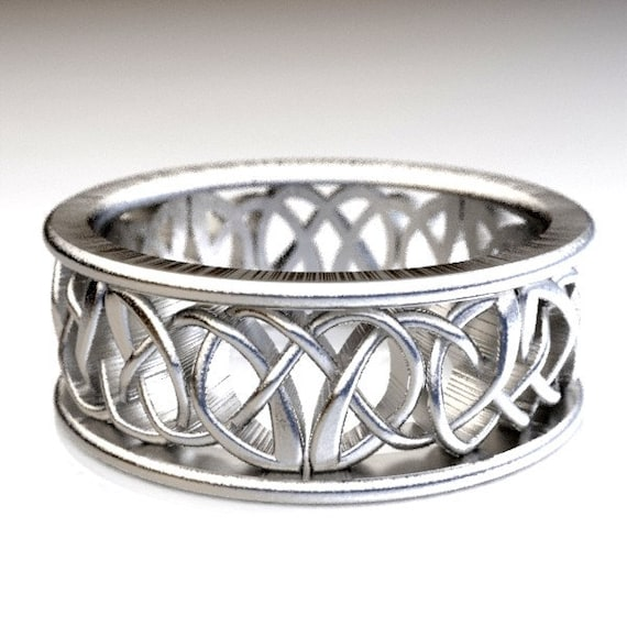 Celtic Wedding Ring With Celtic Knots in Sterling Silver, Made in Your Size CR-117