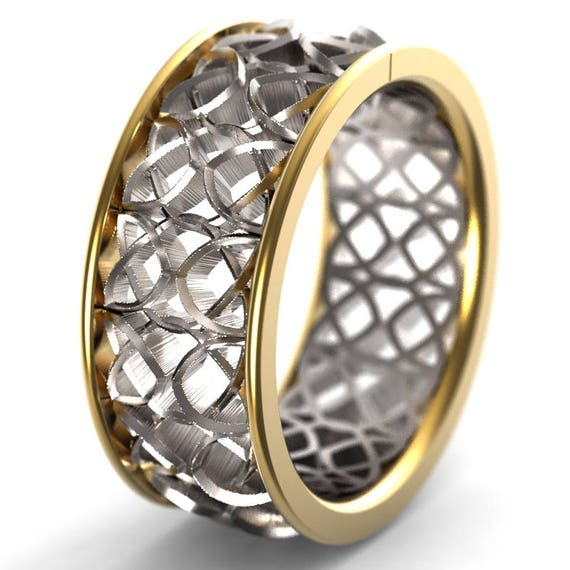 Celtic Bi-Metal Wedding Ring With Encircled Dara Knotwork Encased in Rails Design in 18K Gold, Made in Your Size CR-649