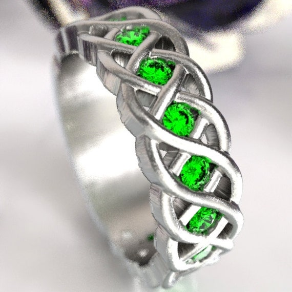 Celtic Wedding Ring with Emerald Stones in 4 Cord Braided Knot Design in Sterling Silver, Made in Your Size CR-1008