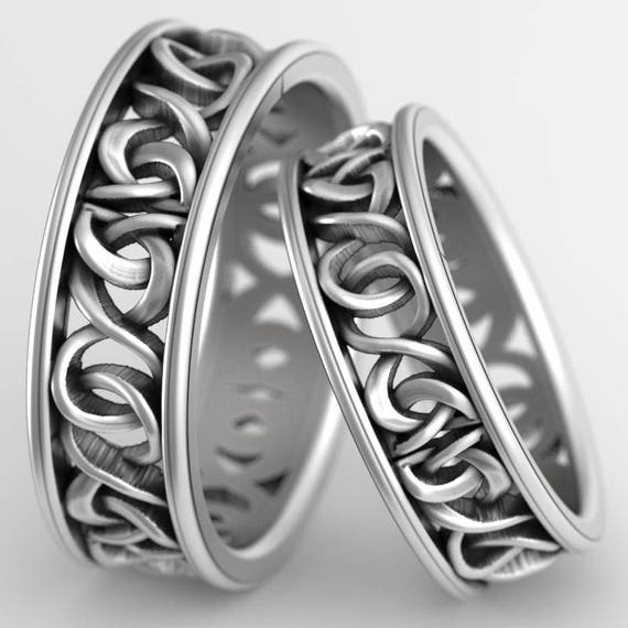 Celtic Knot Ring Set With Woven Dara Knotwork Design in Sterling Silver, Wedding Rings Made in Your Size CR-5006