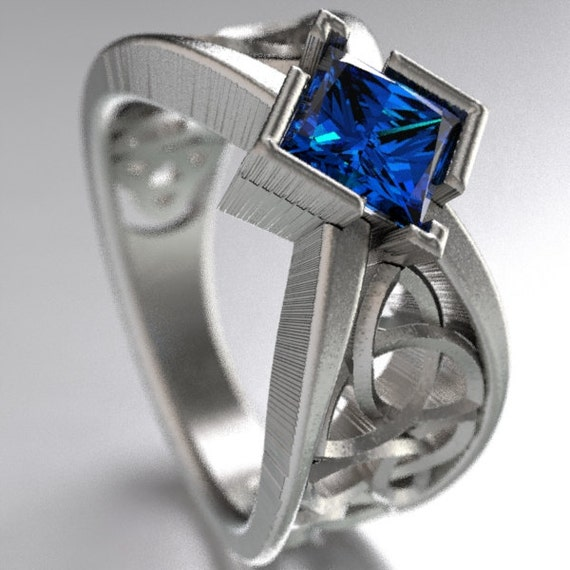 Celtic Wedding Ring  Square Princess Cut Blue Sapphire Trinity Knotwork Design Sterling, 10K 14K 18K, or Palladium,Made in Your Size CR-1025