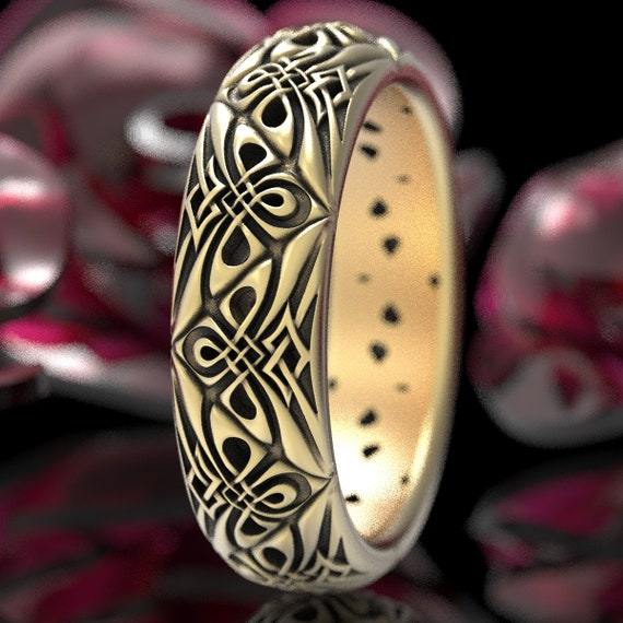 Woven Modern Celtic Knot Ring, Tribal Celtic Triangle Wedding Band, Unique Norse Knot Ring Design, Celtic Gold 10K 14K 18K or Platinum 1296