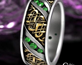 2-Tone Gold, Celtic Wedding Band, Celtic Wedding Band, Emerald Gold Wedding Band, Mens Wedding Ring, Celtic Heart Wedding Band, 1431