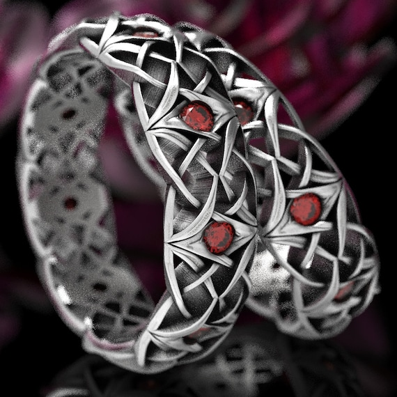 Matching Celtic Knot Ruby Rings, Celtic Ruby Wedding Ring Set, Celtic Eternity Bands with Rubies, Sterling Silver Ruby Ring Set 1300