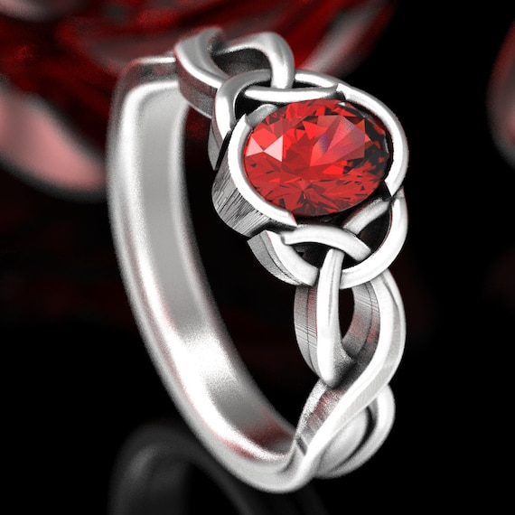 Celtic Oval Ruby Engagement Ring With Trinity Knot Design in Sterling Silver, Celtic Knot Solitaire, Ruby Ring Made in Your Size CR-405
