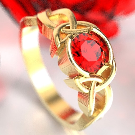 Celtic Ruby Engagement Ring With Trinity Knot Design in 10K 14K 18K Gold, Palladium or Platinum Made in Your Size CR-405b