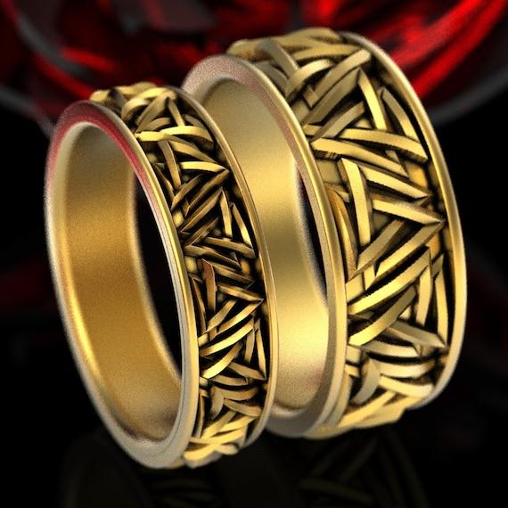 Gold Valknut Knot Ring Set, Interlocking Triangles Wedding Bands in 10K 14K 18K Gold or Platinum, Handmade Norse Ring Set, CR1375 / CR1186