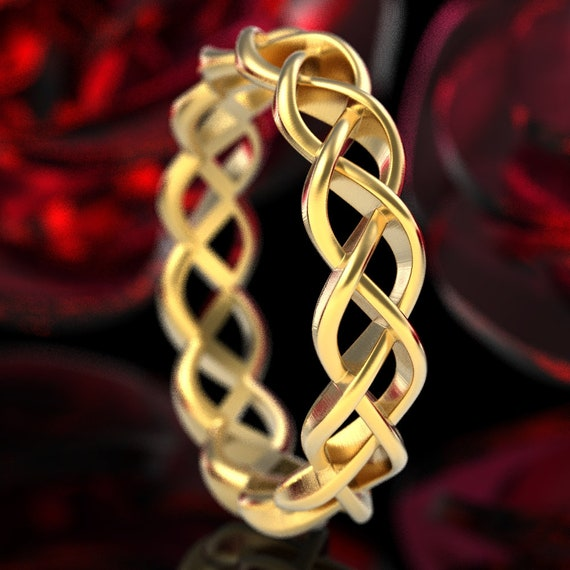 Gold Celtic Wedding Ring With Braided Cut-Through Knotwork Design in 10K 14K 18K or Platinum, Made in Your Size Cr-221