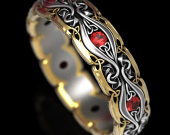 Celtic Mushroom Ring with Rubies, 2-Tone Wedding Band in Silver & Gold, Trinity Knot Ruby Wedding Ring for Her, Nature Inspired Ring, 1378