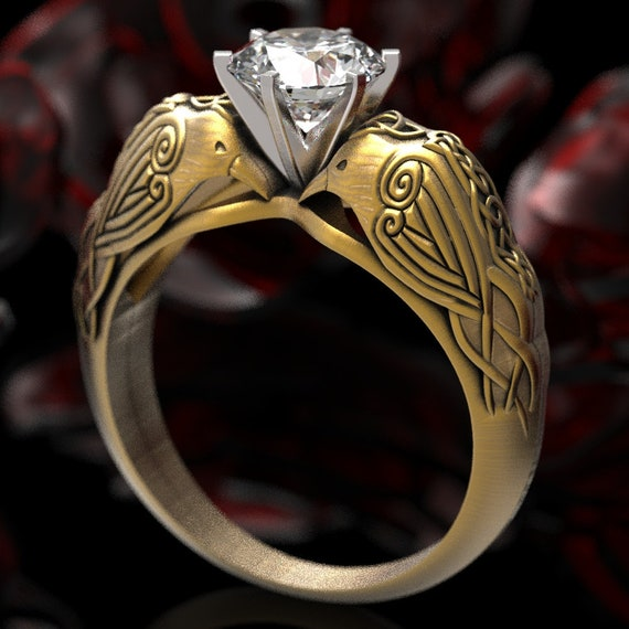 Gold Celtic Raven Solitaire 1Ct Moissanite Ring, Raven Engagement Ring, Irish Wedding Ring, 10K 14K 18K Gold, or Platinum, Custom Size 6008