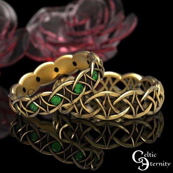 Emerald & Gold Celtic Wedding Band Set, 10K 14K 18K Gold Platinum Ring Set, His Hers Modern Gold Ring Set, Gold Infinity Band, 99 + 1036