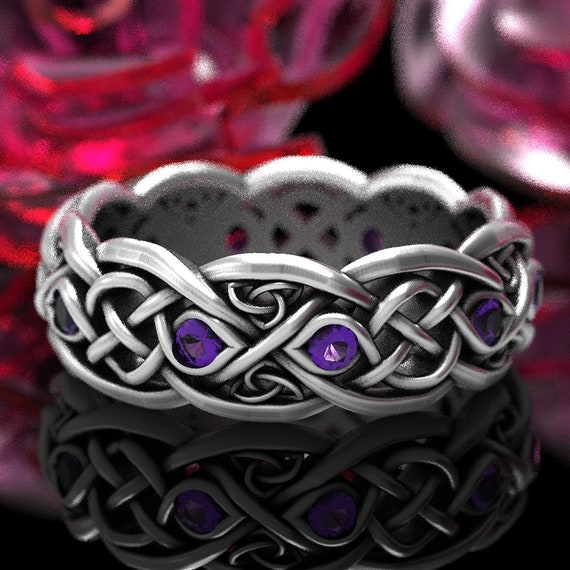 Infinity Amethyst Wedding Band, Sterling Silver Celtic Knot Ring, Unique Amethyst Wedding Band, Handcrafted Trinity Knot Ring Your Size 1052