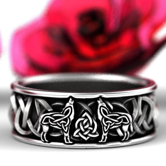 Celtic Wolf Ring Made in Sterling Silver, Wolf Wedding Band, Viking Wolf Ring, Wolf Mens Jewelry, Norse Ring Custom Ring Design 1170