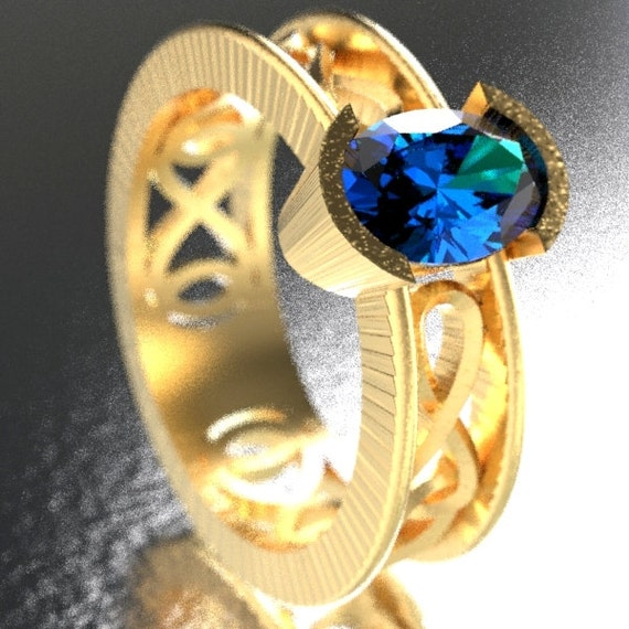 Celtic Wedding Ring with Blue Sapphire Stone and Infinity Knot Design in 10K 14K 18K Gold, Palladium or Platinum Made in Your Size CR-13d
