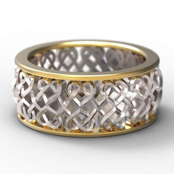 Celtic Bi-Metal Wedding Ring Celtic Heart Interlaced Knot Design Sterling Silver 10K 14K 18K Gold, Palladium or Platinum, Made Your Size 645