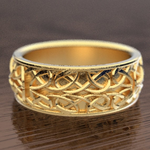Celtic Wedding Ring With Interwoven Dara Knot Design Made in 10K 14K 18K Gold, Palladium or Platinum, Made in Your Size cr-628
