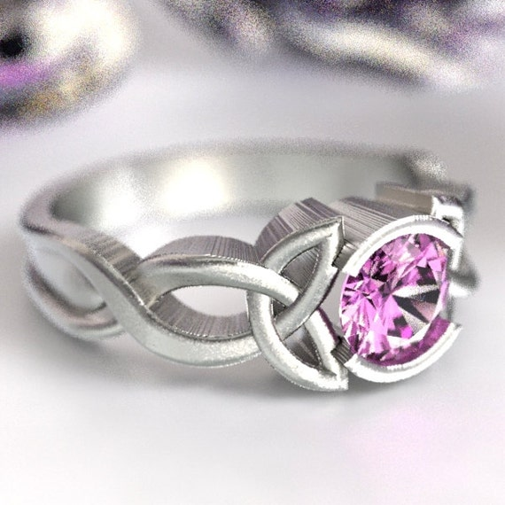 Celtic Pink Sapphire Ring With Trinity Knot Design in Sterling Silver, Made in Your Size CR-405b