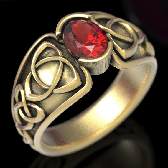 Celtic Ruby Ring With Trinity Interweave Knot Design in Sterling, 10K 14K 18K Gold or Platinum, Made in Your Size CR-17d